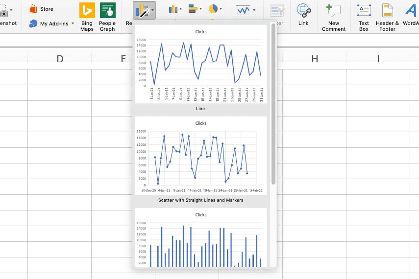 recommended chart feature excel