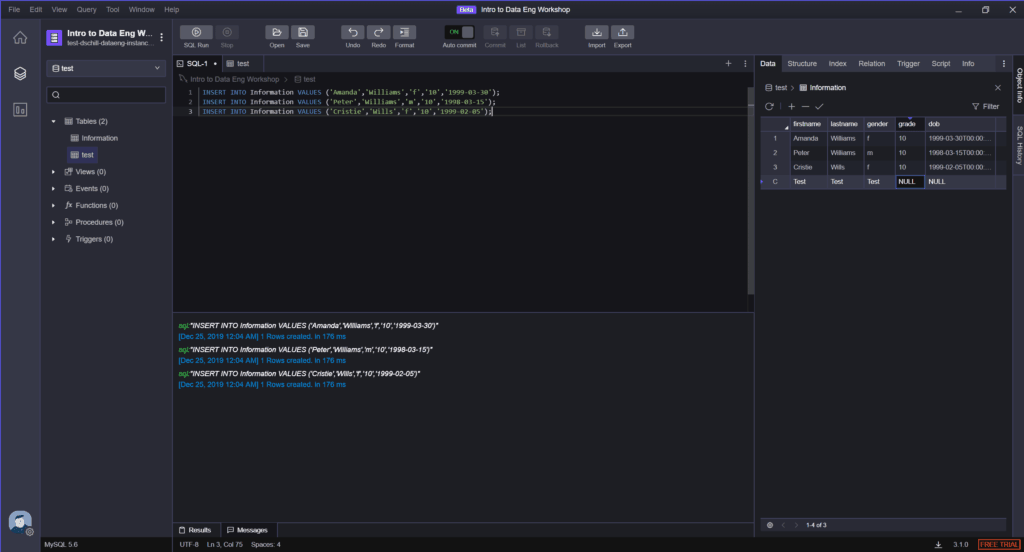 sql client code