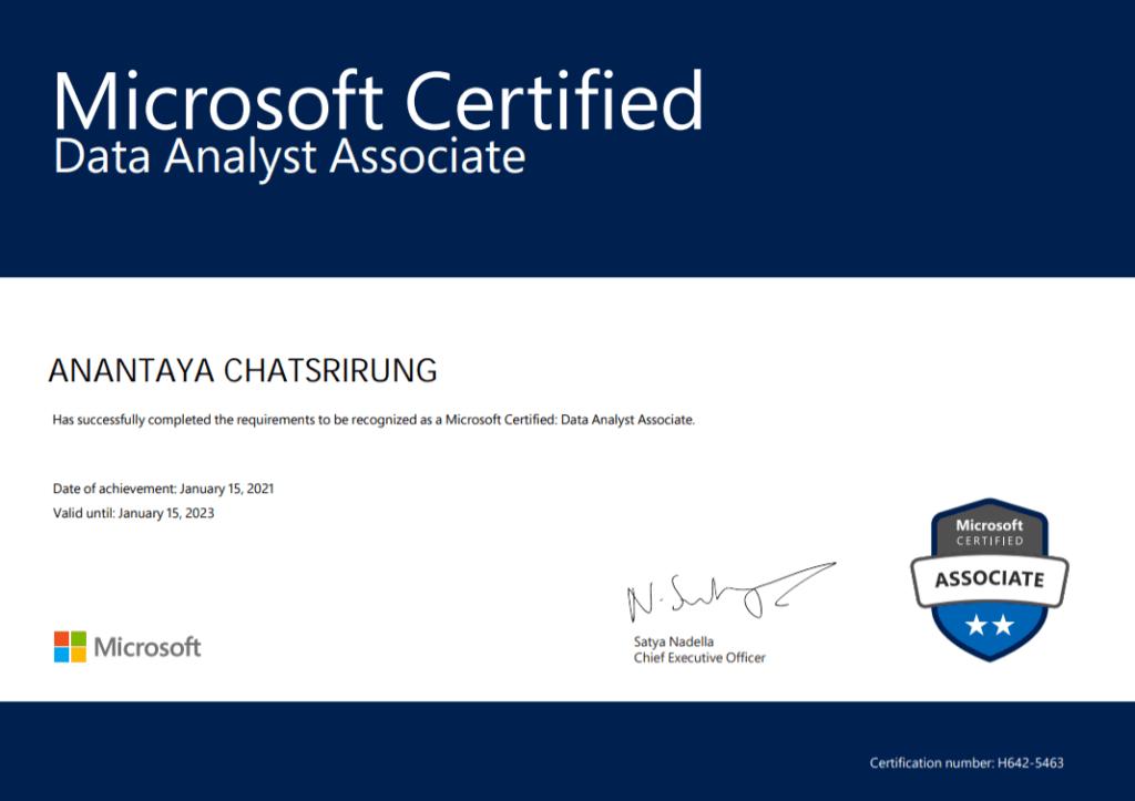 certificate da100 power bi