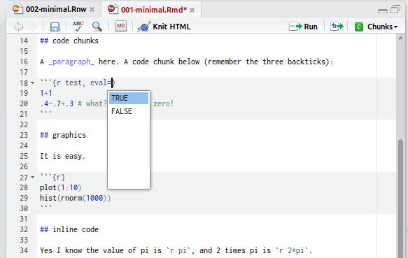 Screenshot knitr RStudio